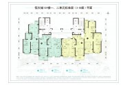 恒大城12#一二单元标准层楼层图