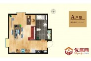 亲海国际A户型1室1厅1卫1厨 59.83㎡