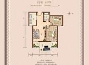 东方罗马花园2号楼B户型2室2厅1卫1厨