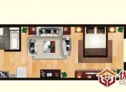 亲海国际C户型1室1厅1卫1厨 62.45㎡